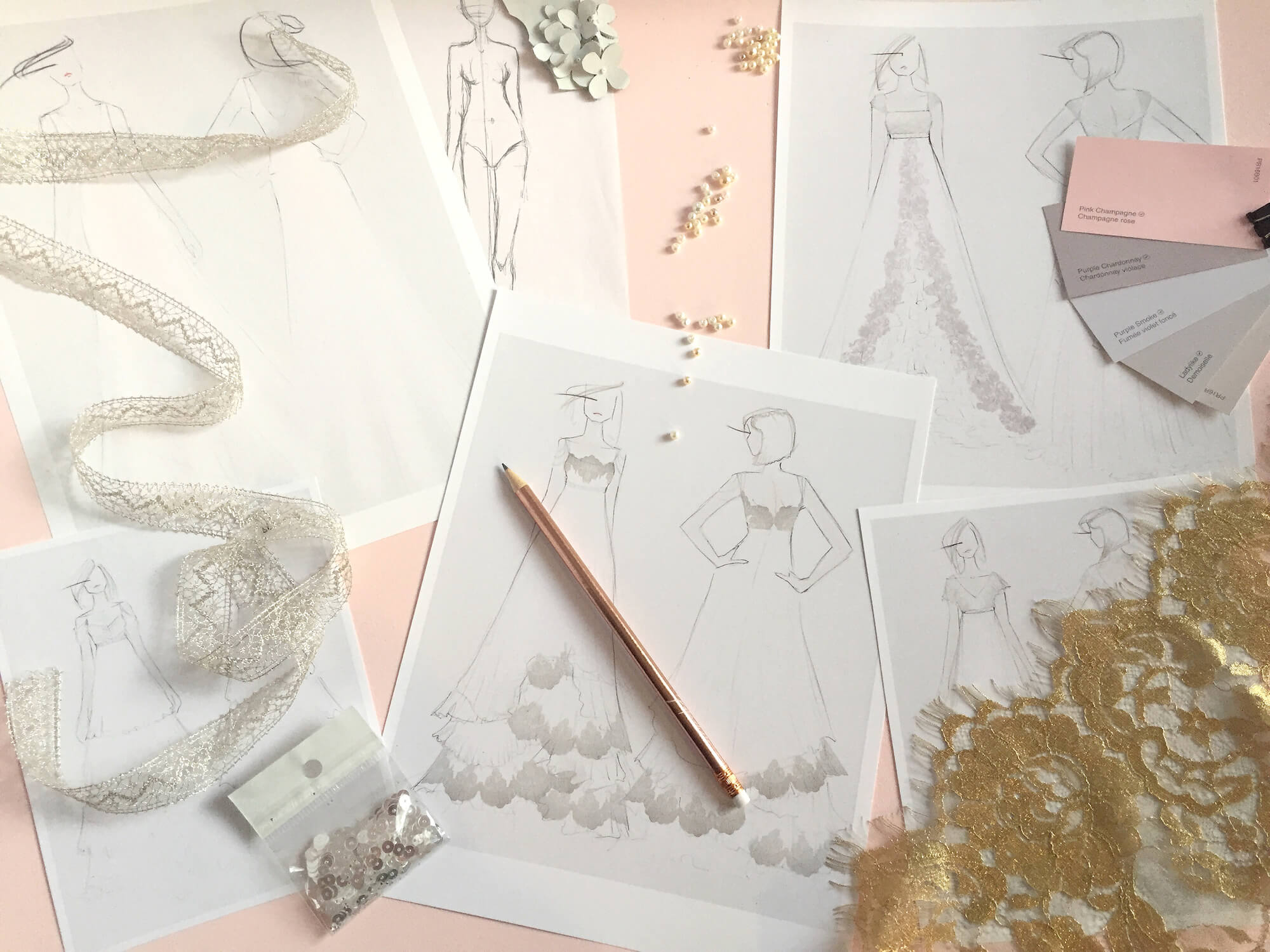 Design package image - sketches, fabrics and inspo images.